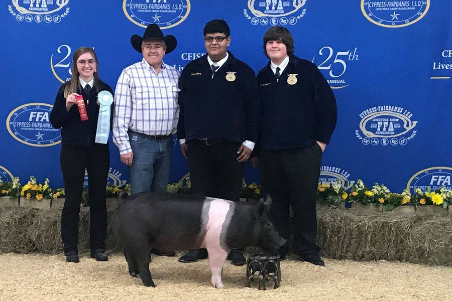 With his pig Pumbaa, Jose Lopez, senior, shows his third place award at the CFISD Livestock and Sale Show.